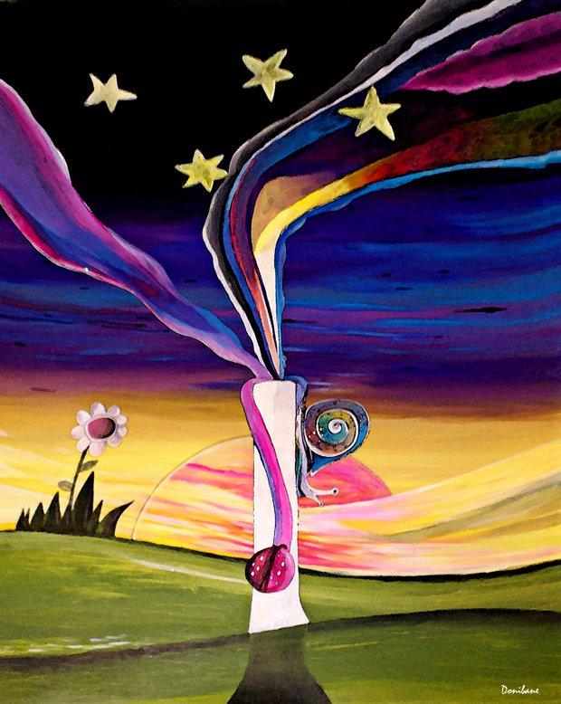 """""""Primaverano"""" obra realizado sobre papel con pinturas acrílicas por el artista Donibane"""