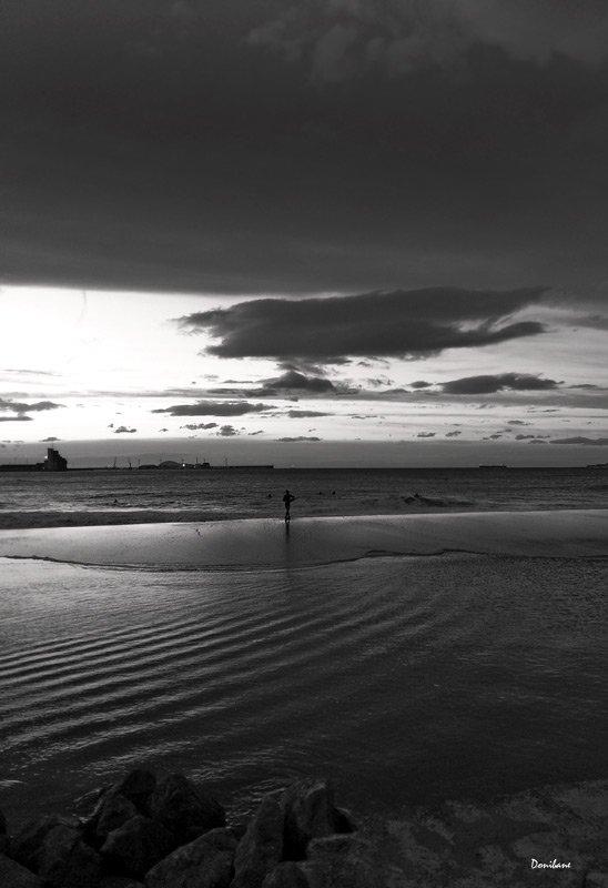 """Ereaga Beach, Getxo, at night"", by Donibane"