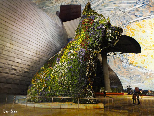 Puppy and the Guggenheim Museum of Bilbao by Donibane